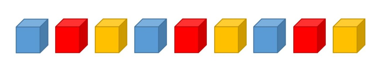 example of 9 cubes in an ABC pattern using blue, red and yellow cubes
