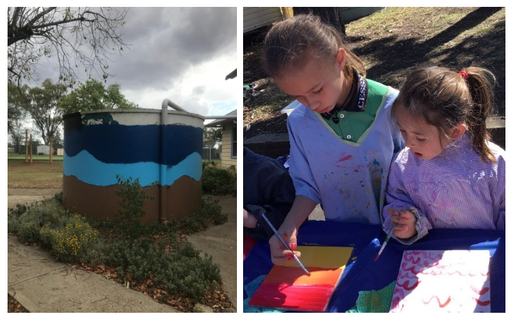 Creative arts in schools - a water tank that has been decorated and two students painting