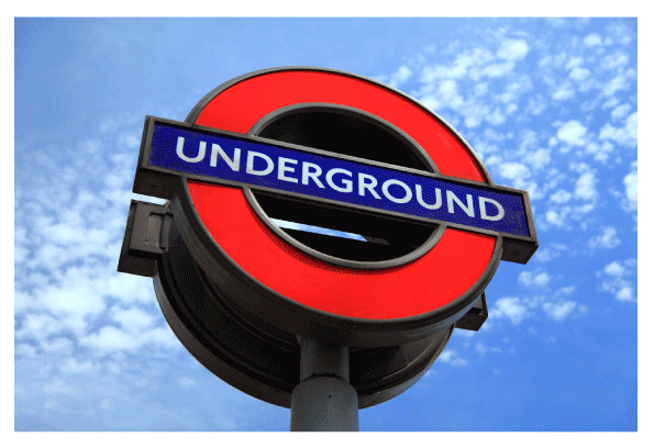 Underground' sign from the British rail system