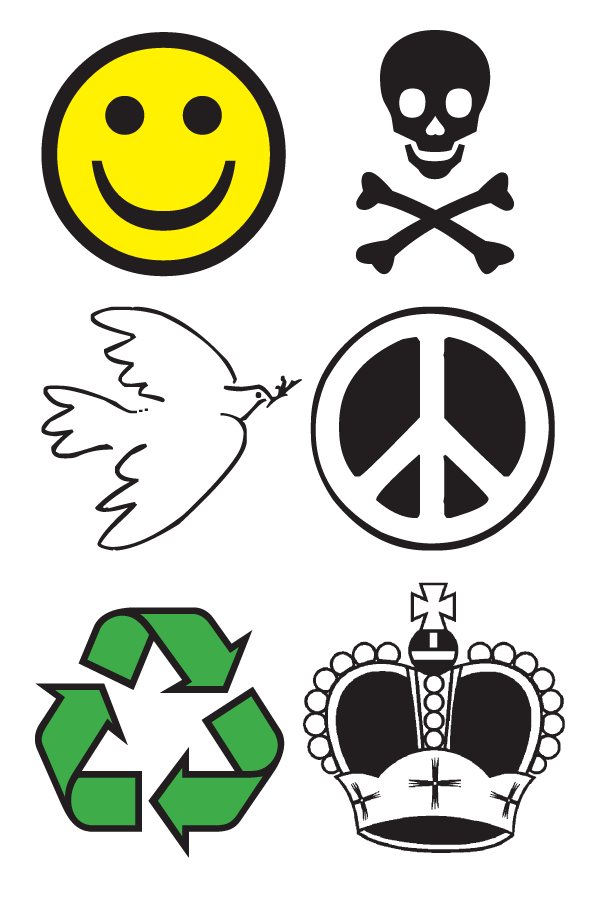 Collection of 6 common symbols: smiley face, skull and cross bones, dove with olive branch, peace sign, recycling symbol (three green arrows forming an infinite triangle), and a royal crown.