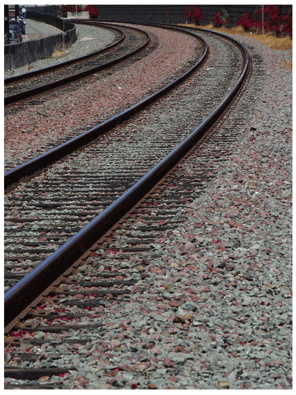 Two sets of train tracks veering off to the left in parallel