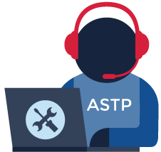 A person using a laptop with a headset on wearing an ASTP shirt