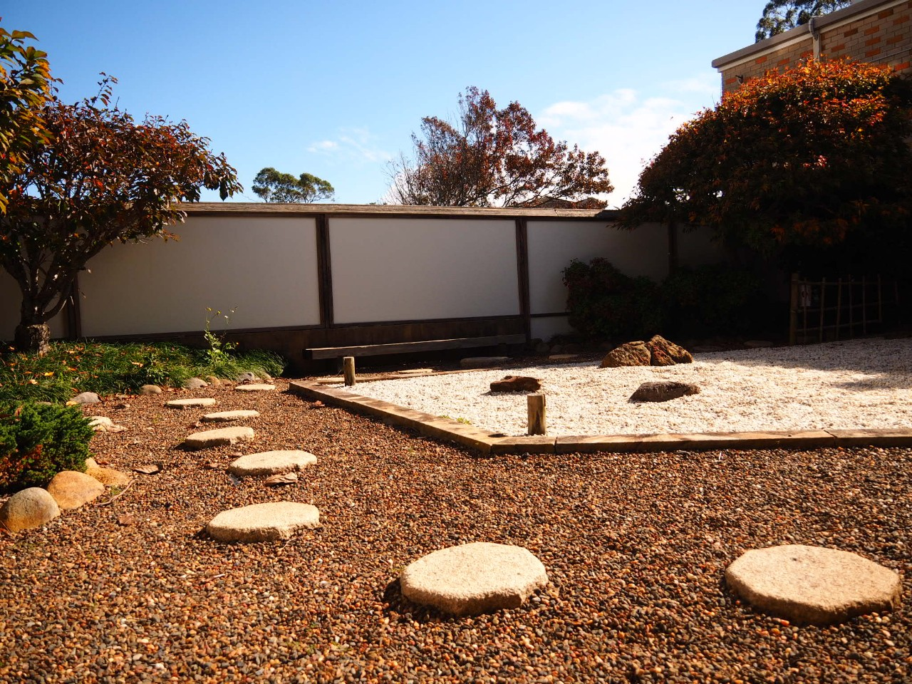 Japanese garden with stepping stones