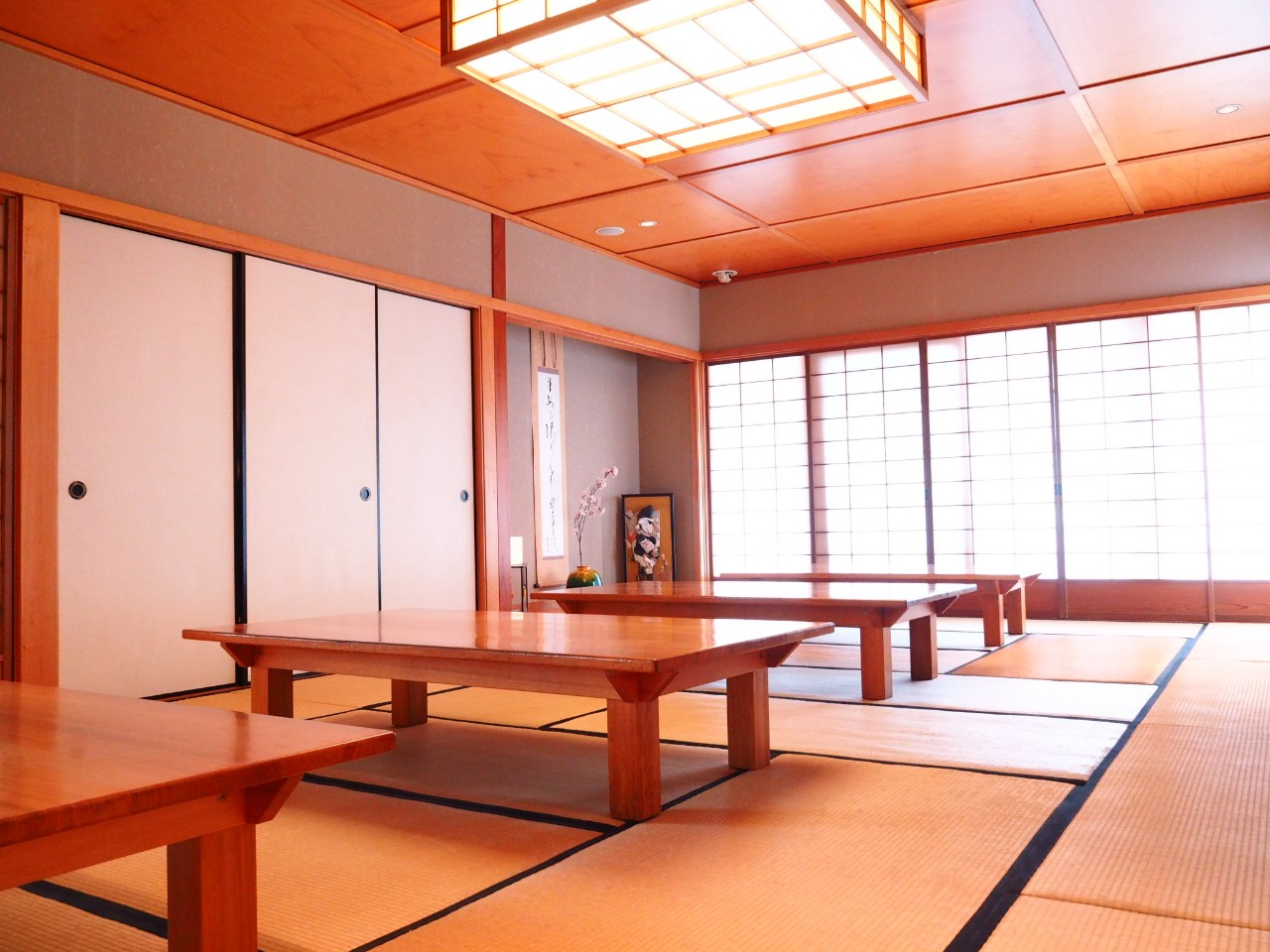 Low tables on tatami floor