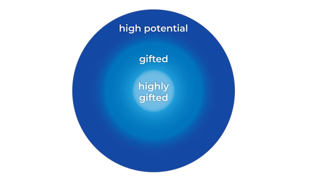 Circular diagram with labels of high potential, gifted and highly gifted of gradually lighter colour and  increasingly smaller radi