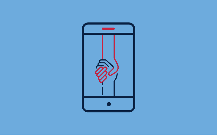 The leadership learning from home icon - two hands holding one another on a mobile phone screen
