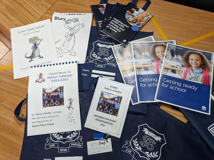 Photo showing samples of items contained in a Scone Public School school pack