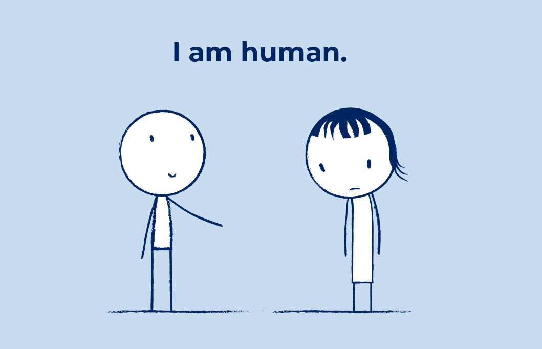 The care and connect icon - two stick figures with the text I am human in the centre.