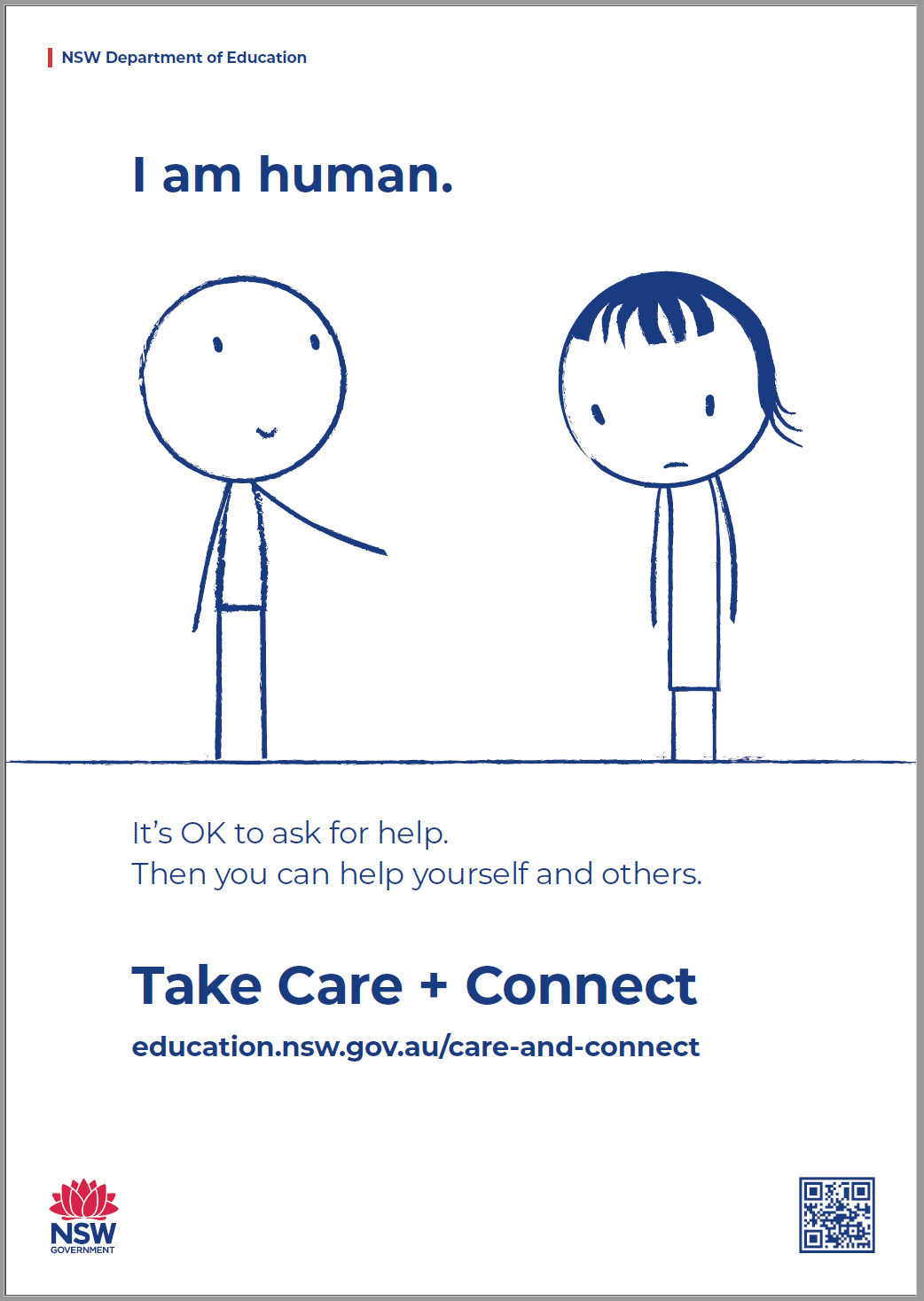 The Care and Connect Awareness poster thumbnail, featuring two figures with the text 'It's OK to ask for help. Then you can help yourself and others' underneath.