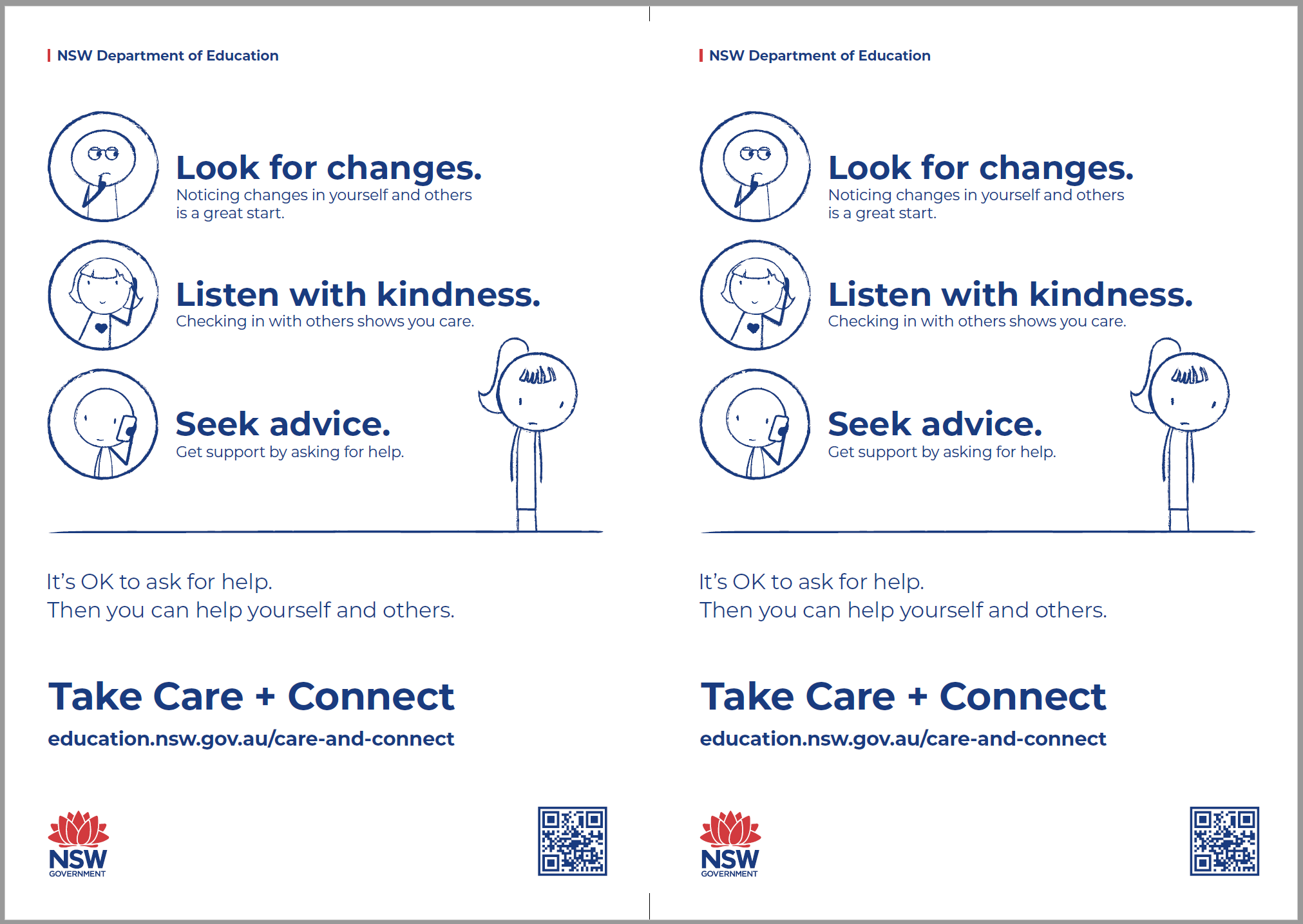 The Care and Connect instructional flyer thumbnail, featuring some text - Look for changes, listen with kindness and seek advice.