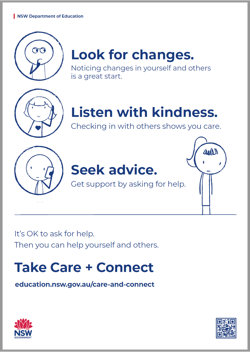The Care and Connect instructional poster thumbnail, featuring some text - Look for changes, listen with kindness and seek advice.