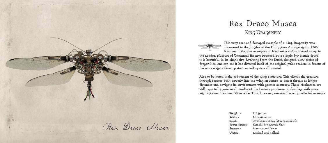 Double page spread from Mechanica, describing the Rex Draco Musca or King Dragonfly, built with metal components and natural wings