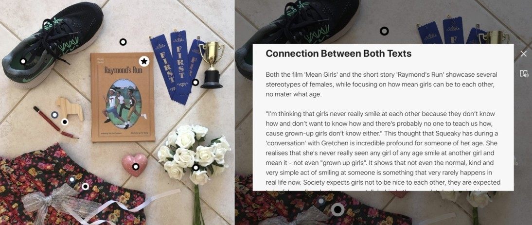 Multimodal photographs containing various hyperlinked items on a tiled floor. Items include the book, first place ribbons and a trophy, white roses, an ornamental heart, a floral skirt, a broken pencil, a small wooden horse and a running shoe. Superimposed text gives an explanation about a selected item.