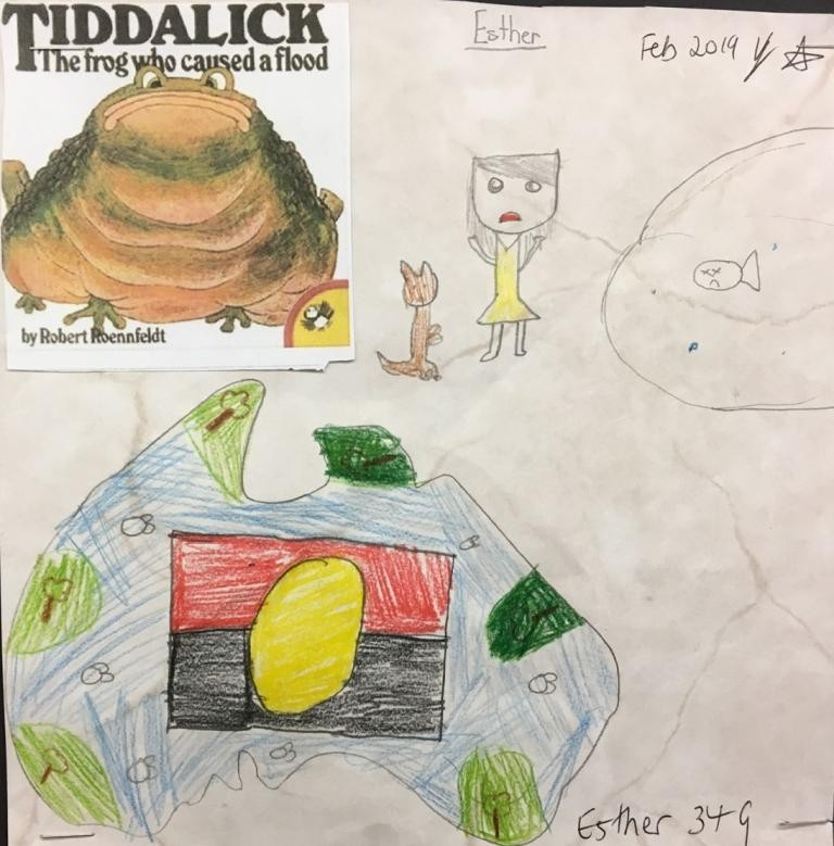 A book cover supported by drawn pictures including a girl and  kangaroo, a fish in a pond, a map of Australia and an Aboriginal flag.
