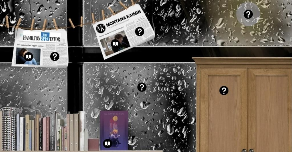 A water splattered window is superimposed with items including a circle, a closed cupboard, a copy of the book cover, a row of other books and two newspapers