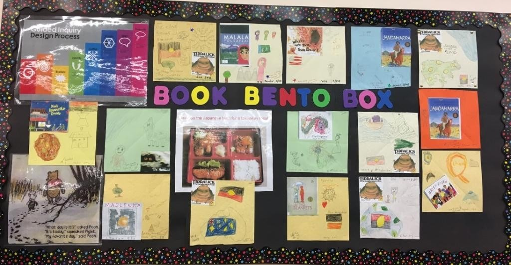 A pinup board with examples of physical BBBs from Stage 2 students using story books for a Humanities and Social Sciences unit