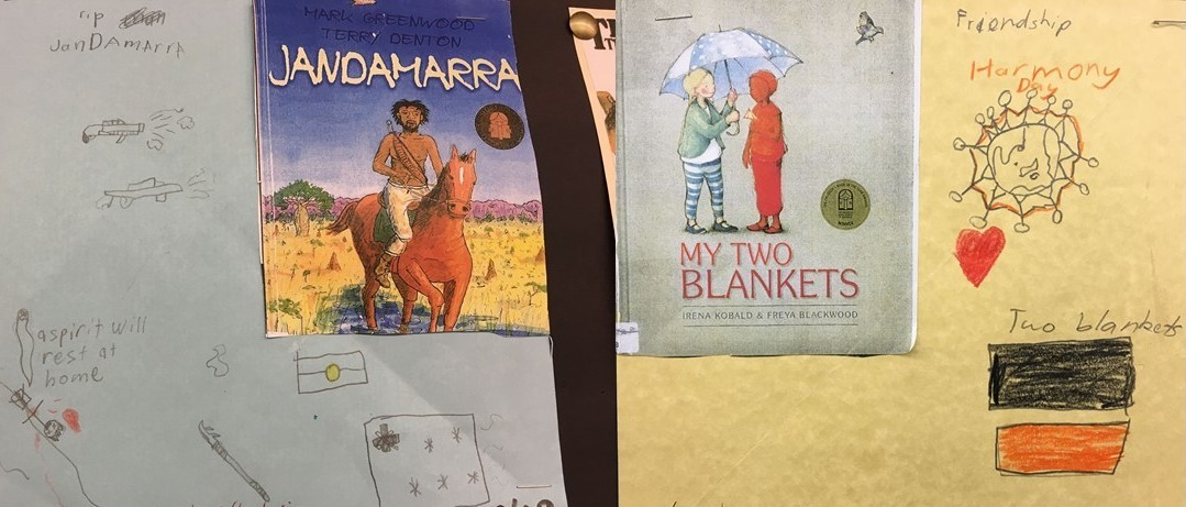 Physical Book bento box presentations for Jandamarra by Mark Greenwood and Terry Denton and My Two Blankets by Irena Kobald and Freya Blackwood. Each illustration contains a copy of the book cover and hand drawn related items.