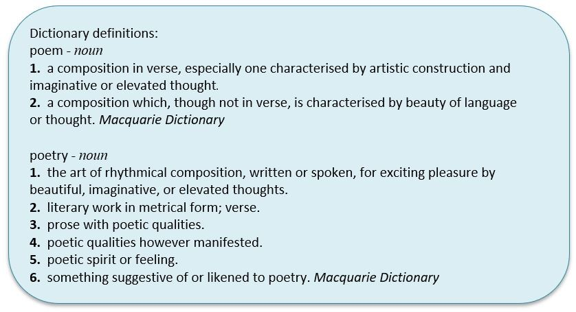 Definition of poem and poetry from the Macquarie Dictionary
