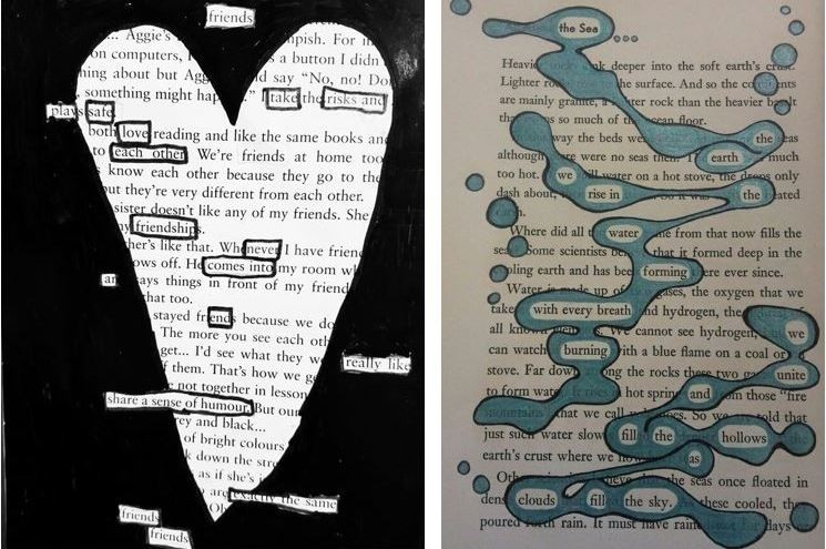 Two pages from old books with selected text coloured in to form poems in the shape of a heart and splashed water