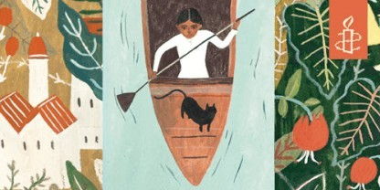 A woman and a black cat in a row boat, from the cover of the book The River and the Book