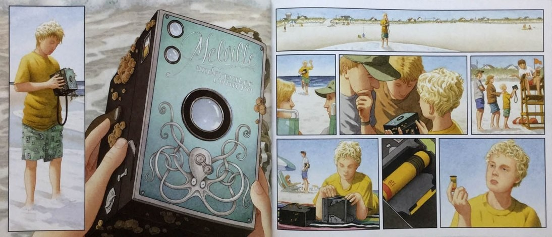 Double page spread from Flotsam, showing a boy examining a mysterious old camera which has washed up on the beach