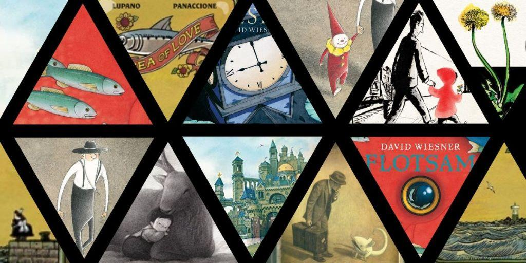 A grid filled with triangles, showing snippets from various wordless picture books