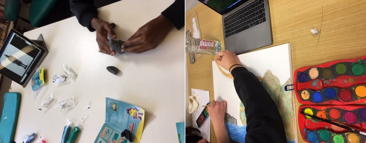 Students working and creating with paint, modelling clay and devices