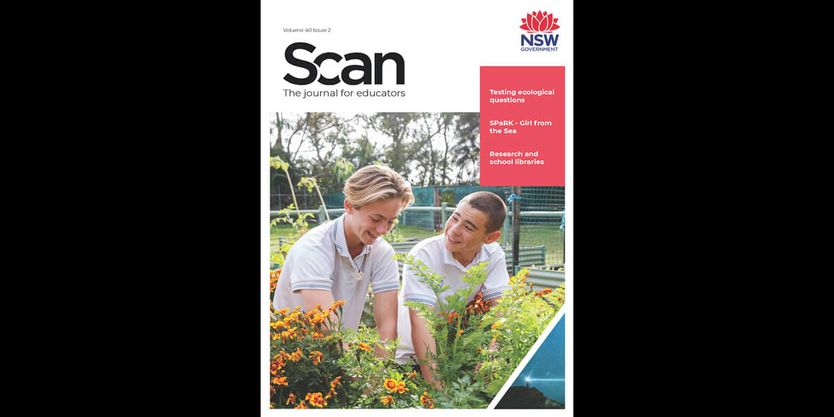 Cover of Scan volume 40, issue 1, which reads: testing ecological questions, SPaRK - Girl from the Sea, Research and school libraries